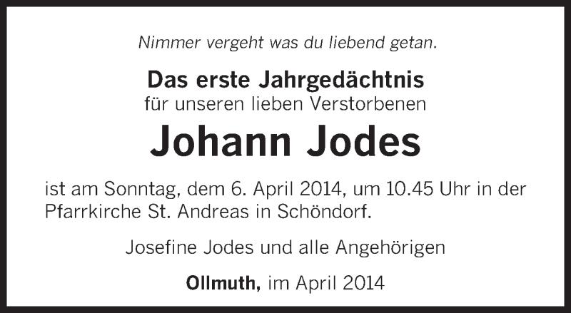 Traueranzeige für Johann Jodes vom 02.04.2014 aus trierischer_volksfreund