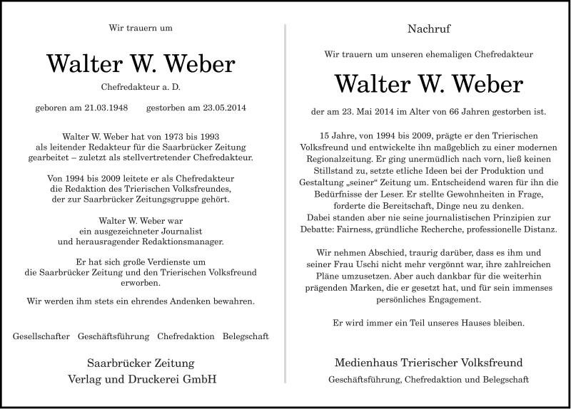 Anzeige von  Walter W. Weber