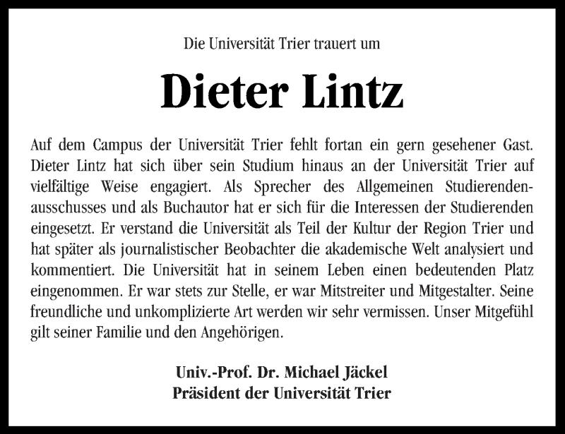 Anzeige von  Dieter Lintz