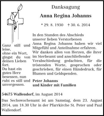Zur Gedenkseite von Anna Regina