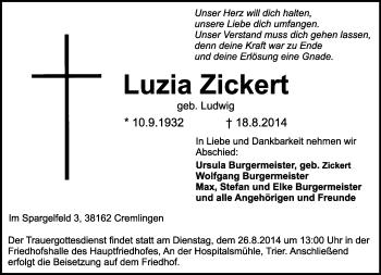 Zur Gedenkseite von Luzia
