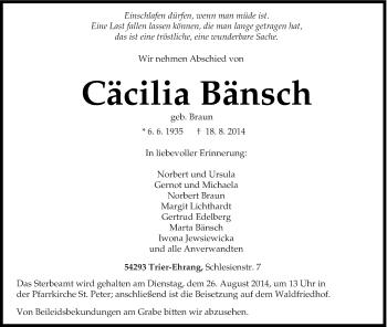 Zur Gedenkseite von Cäcilia