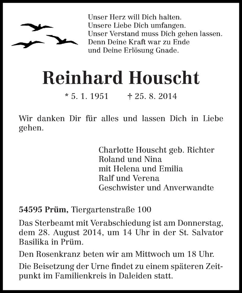 Traueranzeige für Reinhard Houscht vom 26.08.2014 aus trierischer_volksfreund
