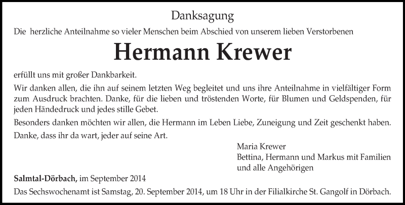Traueranzeige für Hermann Krewer vom 19.09.2014 aus trierischer_volksfreund