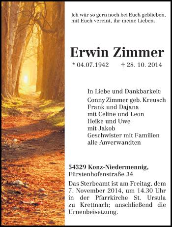 Traueranzeige von Erwin Zimmer von trierischer_volksfreund
