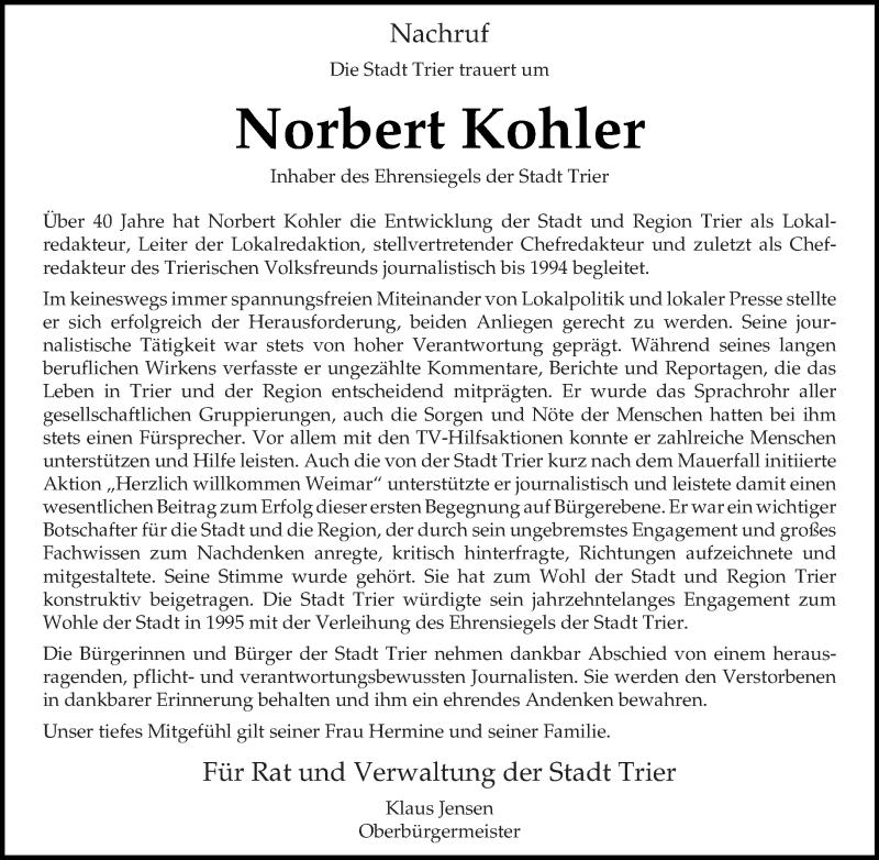 Anzeige von  Norbert  Kohler