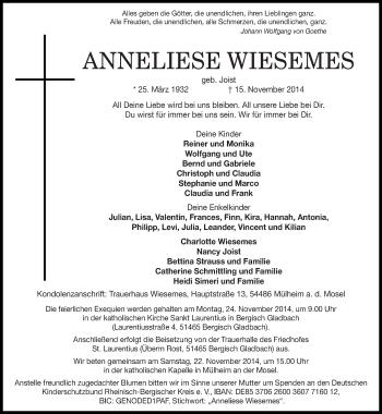 Zur Gedenkseite von Anneliese
