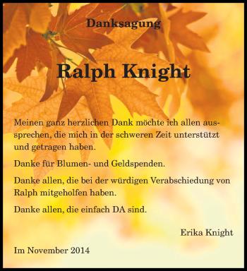 Traueranzeige von Ralph Knight von trierischer_volksfreund