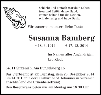 Zur Gedenkseite von Susanna
