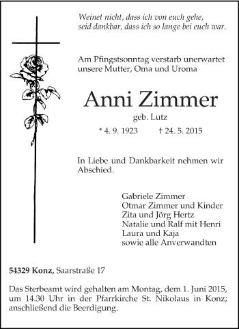 Zur Gedenkseite von Anni