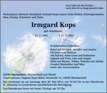Zur Gedenkseite von Irmgard