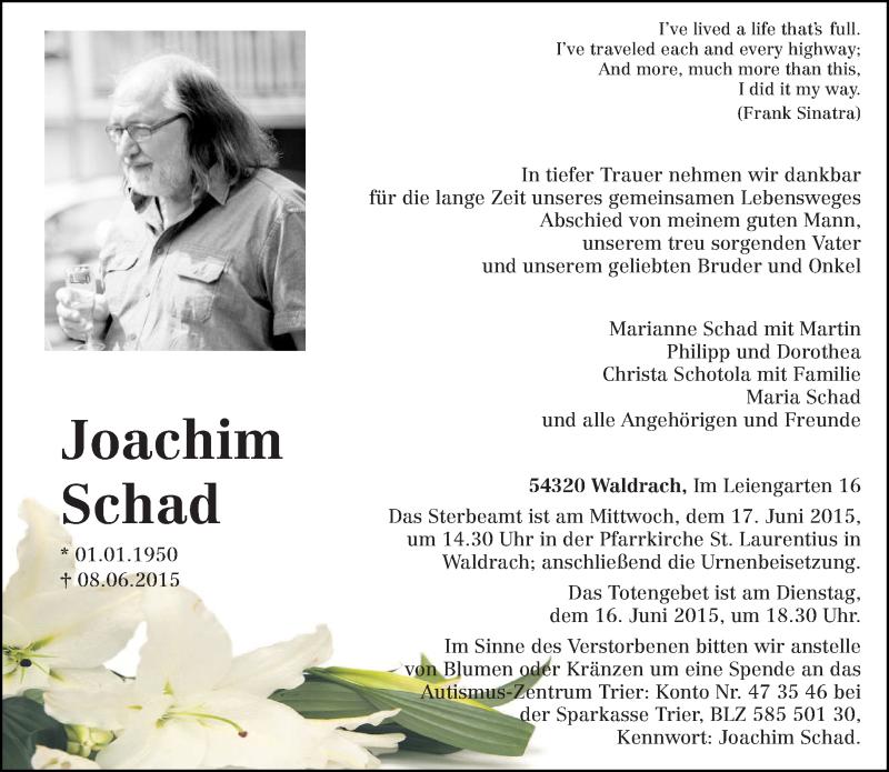 Anzeige von  Joachim Schad