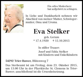 Traueranzeige von Eva Stelker von trierischer_volksfreund