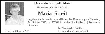 Traueranzeige von Maria Streit von trierischer_volksfreund