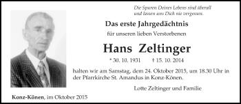 Traueranzeige von Hans Zeltinger von trierischer_volksfreund
