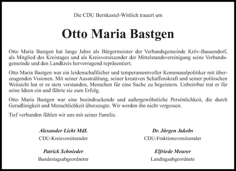 Traueranzeige für Otto Maria Bastgen vom 12.11.2015 aus trierischer_volksfreund