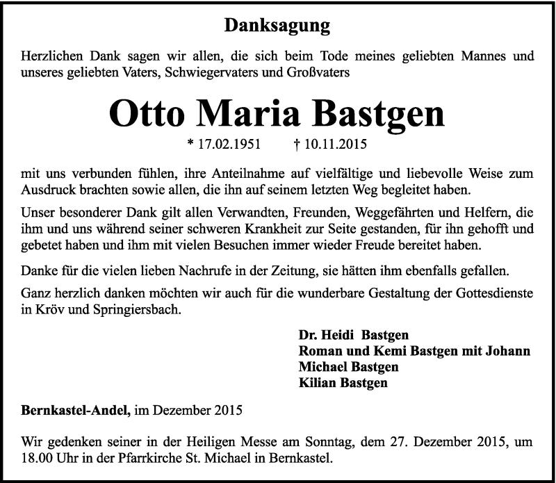 Traueranzeige für Otto Maria Bastgen vom 12.12.2015 aus trierischer_volksfreund