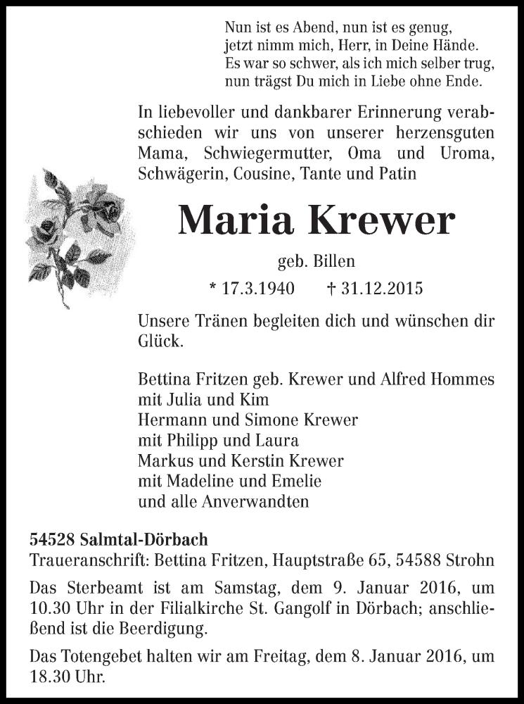 Traueranzeige für Maria Krewer vom 06.01.2016 aus trierischer_volksfreund