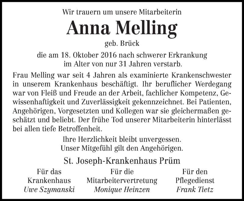 Traueranzeige für Anna Melling vom 20.10.2016 aus trierischer_volksfreund