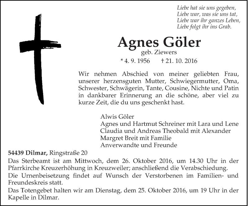 Traueranzeige für Agnes Göler vom 24.10.2016 aus trierischer_volksfreund