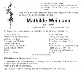 Traueranzeige von Mathilde Weimann von trierischer_volksfreund