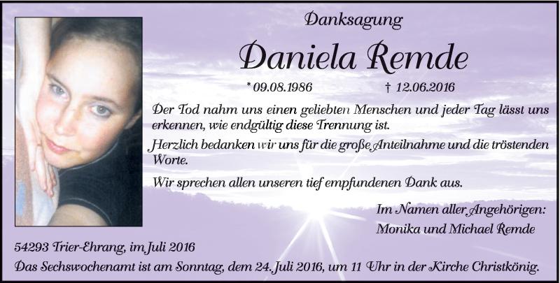 Traueranzeige für Daniela Remde vom 20.07.2016 aus trierischer_volksfreund