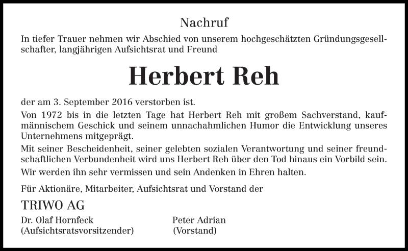 Anzeige von  Herbert Reh