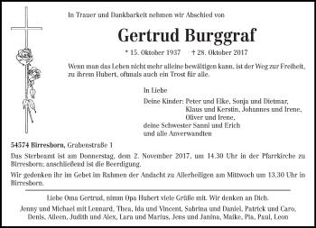 Traueranzeige von Gertrud Burggraf von trierischer_volksfreund