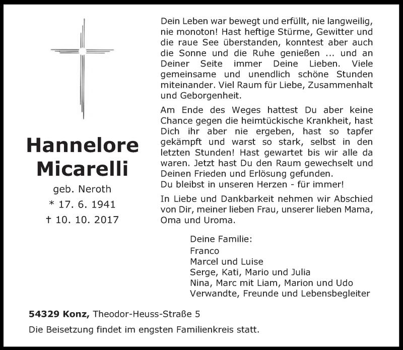 Traueranzeige für Hannelore Micarelli vom 14.10.2017 aus trierischer_volksfreund