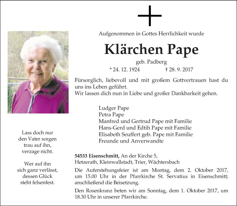Traueranzeige für Klärchen Pape vom 30.09.2017 aus trierischer_volksfreund
