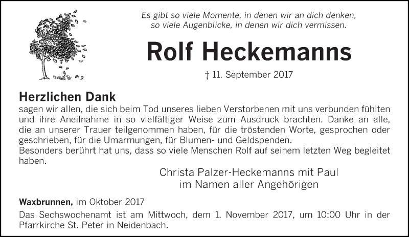 Anzeige von  Rolf Heckemanns