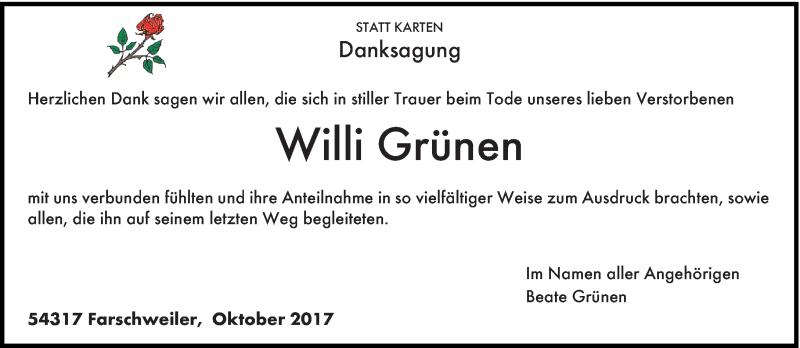 Traueranzeige für Willi Grünen vom 21.10.2017 aus trierischer_volksfreund