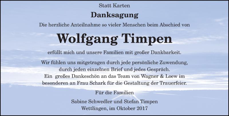 Anzeige von  Wolfgang Timpen