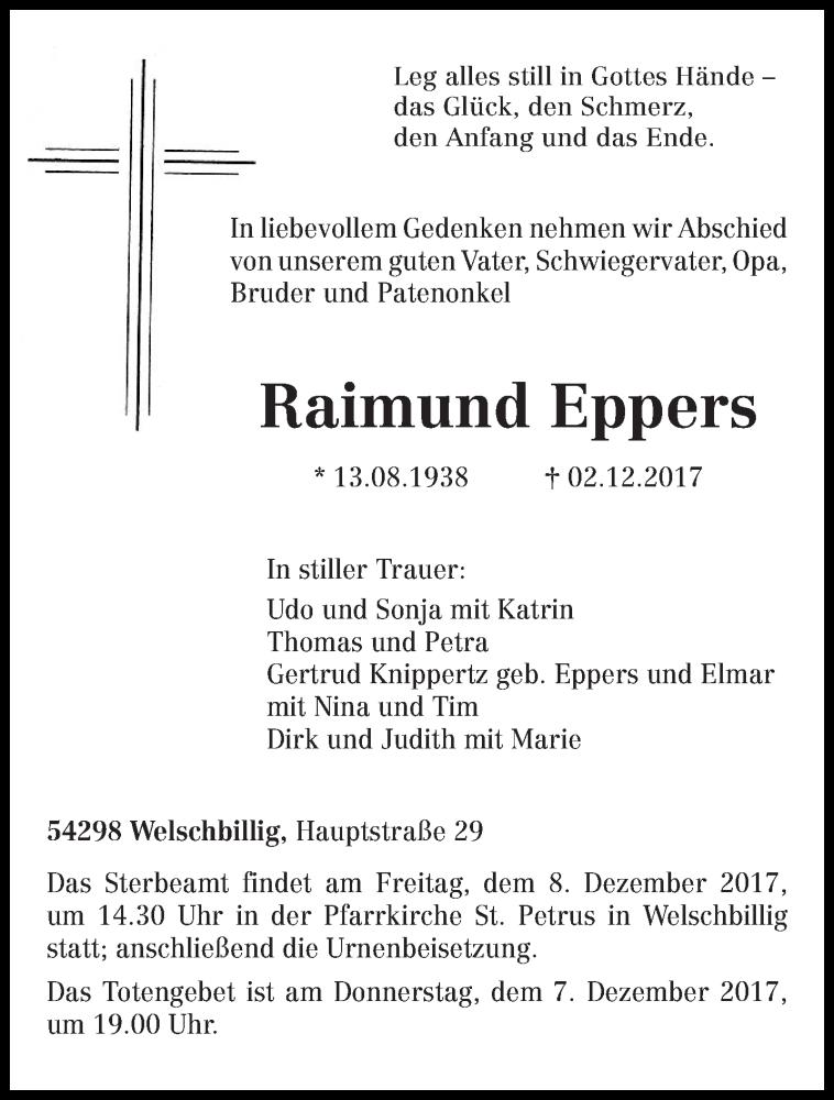Anzeige von  Raimund Eppers