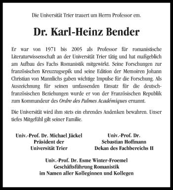 Traueranzeige für Karl-Heinz Bender vom 11.03.2017 aus trierischer_volksfreund