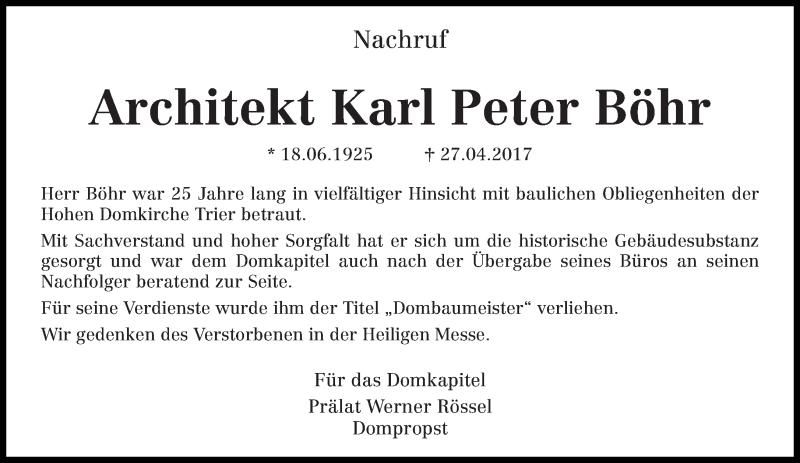 Traueranzeige für Karl Peter Böhr vom 13.05.2017 aus trierischer_volksfreund