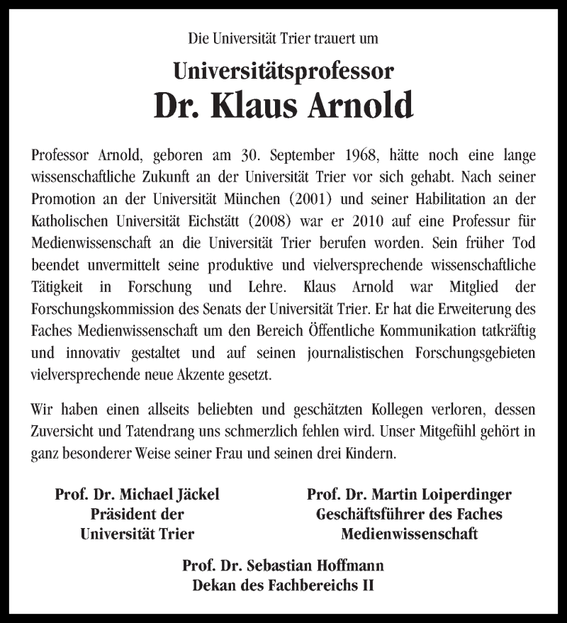Traueranzeige für Klaus Arnold vom 02.06.2017 aus trierischer_volksfreund