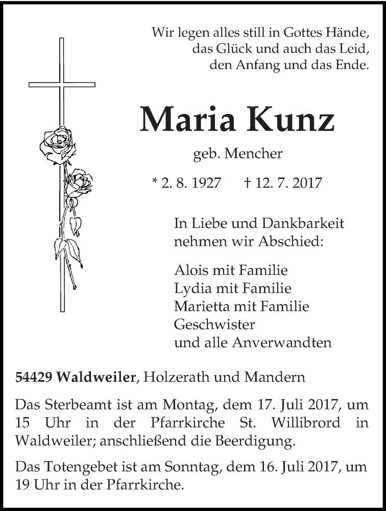 Anzeige von  Maria Kunz