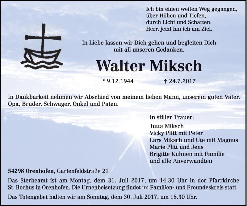 Anzeige von  Walter Miksch