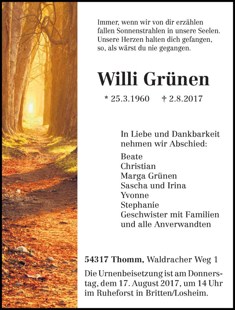 Traueranzeige für Willi Grünen vom 12.08.2017 aus trierischer_volksfreund