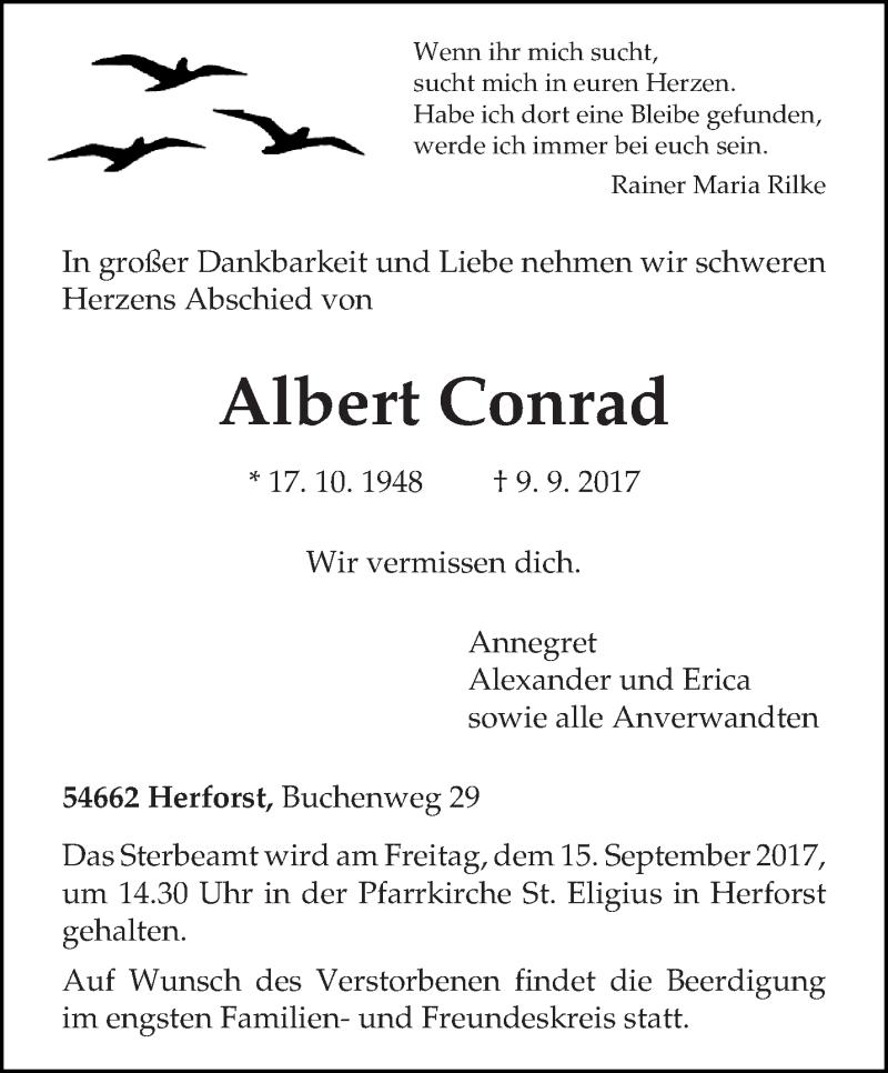 Anzeige von  Albert Conrad