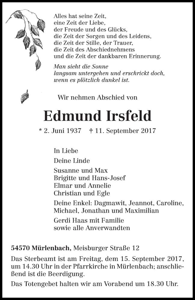 Anzeige von  Edmund                                             † 11. September 2017 Irsfeld