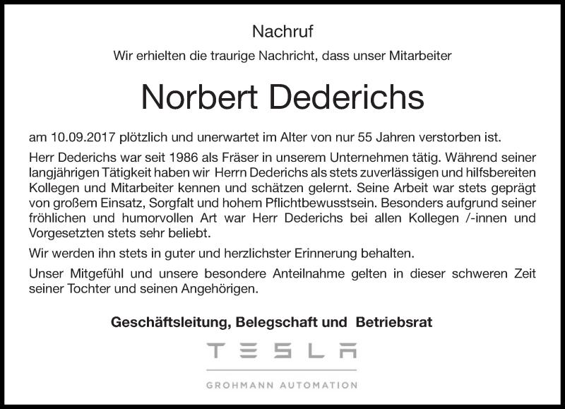 Anzeige von  Norbert Dederichs