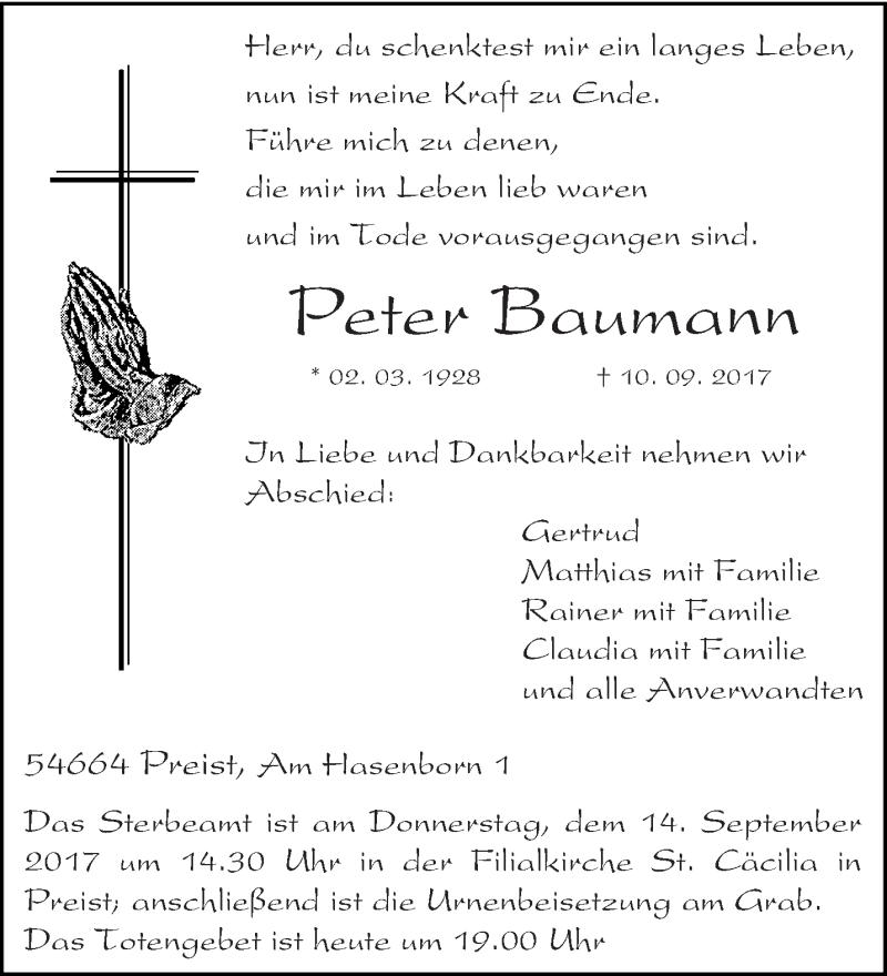 Anzeige von  Peter Baumann