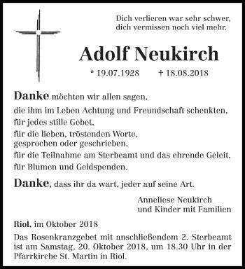 Traueranzeige für Adolf Neukirch vom 17.10.2018 aus trierischer_volksfreund