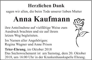Traueranzeige für Anna Kaufmann vom 13.10.2018 aus trierischer_volksfreund