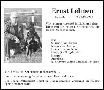 Traueranzeige von Ernst Lehnen von trierischer_volksfreund