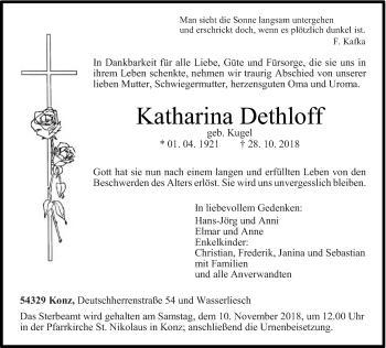 Traueranzeige von Katharina Dethloff von trierischer_volksfreund