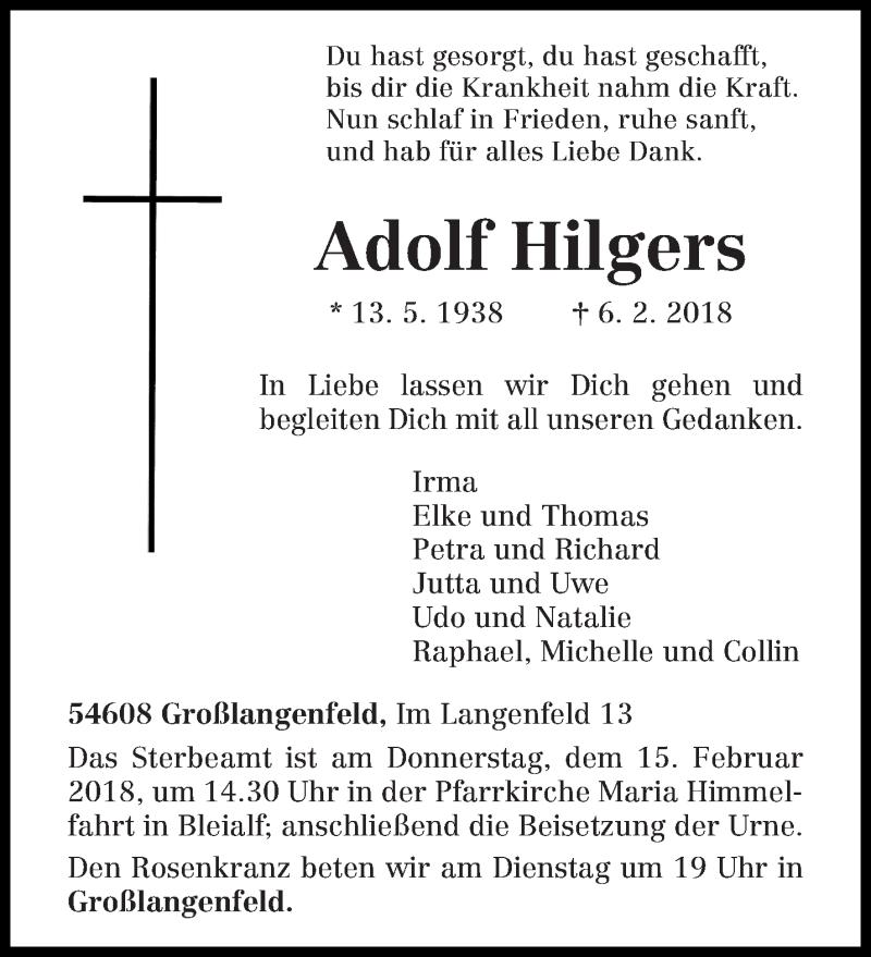 Traueranzeige für Adolf Hilgers vom 08.02.2018 aus trierischer_volksfreund