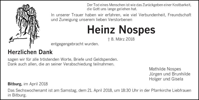 Traueranzeige für Heinz Nospes vom 14.04.2018 aus trierischer_volksfreund